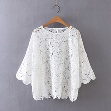 L005 fashion women sweet floral lace flare sleeve o neck shirt ladies fwhite color fairy blouse tops