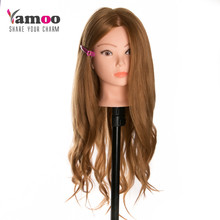 curly Professional Styling Head Wig Head Stand Women Makeup Hairdressing Dummy Doll Training Head , Hair Mannequin Head(China)