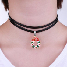 Christmas Bell Tree Candy Cane Pendant Charm Multilayer Black PU Leather Choker Necklace Collares 2016 New Fashion Jewelry Gift(China)
