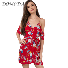 DOMODA 2017 Apparel Red Floral Print Cold Shoulder Mini Dress Women Clothing Casual Frill Boho Dress Sweet Ruffle Female Vestido