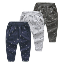 Kz-5251 2017 Spring Clothes Korean New Pattern Anchor Printing Catamite Children's Garment Baby Leisure Time Pants Long Pants(China)