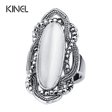Buy Top Bohemian Style White Opal Ring Big Oval Silver Plated Mosaic AAA Gray Crystal Rings Women Vintage Jewelry for $1.96 in AliExpress store