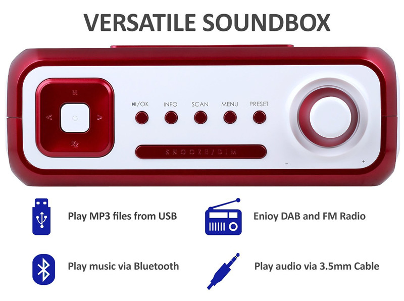 August MB400 DAB Radio and DAB+ Radio with Wireless Bluetooth Speaker and Alarm Clock Music System