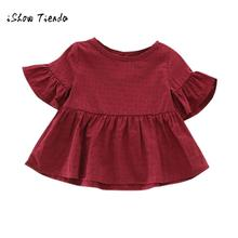 2017 girls short sleeve dress Toddler Cotton Newborn Baby Girls Solid Flare Sleeve Tops Shirt Girls Clothes(China)