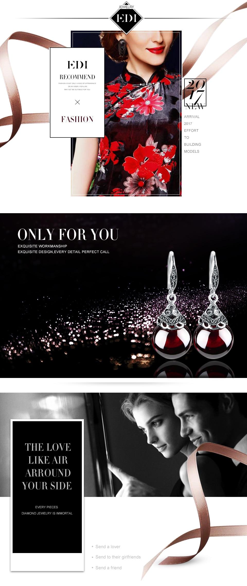 EDI Retro Round Gemstone Garnet Earrings Female 925 Sterling Silver Fine Jewelry us631