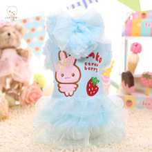 MKO 2016 Autumn Winter Cute Strawberry Rabbit Dog Dresses Blue Pink Dog Skirt Princess Pet Dress Teddy Clothes Pet Garment WP833(China)