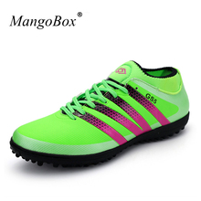 Hot Men Kids Soccer Shoes For Artificial Turf Cleats Green/Black Indoor Football Shoes Leather Turf Boots Indoor Soccer Cleat(China)