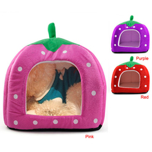 High Quality Soft Strawberry Cave Pet Dog Cat Bed House Kennel Doggy Fashion Cushion Basket Puppy Home Pet Supplies(China)