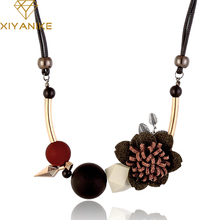 XIYANIKE New Fashion Women Geometric Fabric Flower Wood Beads Necklaces & Pendants Statement Necklace For Women Jewelry N810(China)