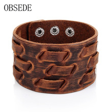 OBSEDE New Fashion Men Wide Leather Bracelet Brown Wide Cuff Bracelets & Bangles Wristband Vintage Punk Men Jewelry 3 Row Clasps(China)