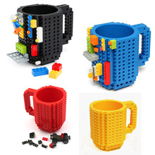 Creative Mug Lego Type Building Blocks Mugs DIY Block Puzzle Mug 12oz 1Piece Build-On Brick Coffee Mug Drinkware(China)