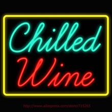 Neon Sign Chilled Wine Real Glass Tube vintage neon sign Beer Bar Pub Handcrafted neon signs for home custom Iconic Sign VD31x24(China)