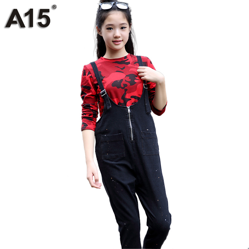 A15 Teenage Girl Clothing Set Outerwear 2017 Tracksuit Girl Spring T Shirt Bib Overall 2pc Toddler Outfit Age 8 10 12 14 16 Year<br>