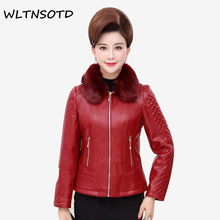 Buy 2018 New Spring autumn women's short leather jacket Female lapel Fur collar coat Removable collar mom zipper Slim PU coats for $48.84 in AliExpress store