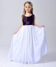 Fashion kids blue white and purple patchwork girls formal dresses graduation gowns children