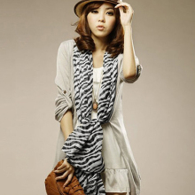 Women's Fashion Long Soft Comfortale Zebra Stripes Pattern Chiffon Shawl Scarf New Arrival(China)