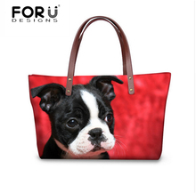 FORUDESIGNS Women Handbags Cute Boston Terrier Woman Bags Casual Tote bag Crossbody Bags for Ladies Travel Shoulder Bag Feminine(China)
