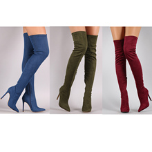 Suede Elastic Boots High Heel Thigh High Boots Women's Pointed Toe Zipper Sexy Over The Knee BootS 35 - 43