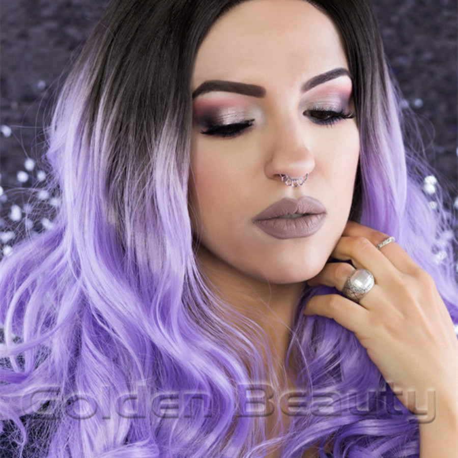 2017 Hot Ombre Purple Kanekalon Synthetic Hair 16-18 inch Curly Lace Front Wig  Deep Body Wavy Hairstyle Wigs<br><br>Aliexpress