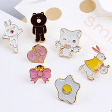 diy jewelry Brooch needle accessory with buckle 2017 Spring style alloy drop oil animal rabbit/heart/bow/bear shape fashon charm