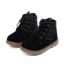 2017 Autumn Winter Retro Children Shoes Girls Boots England Fashion Kids Martins Boots Boys Combat Boots with Fur Baby Shoe(China)