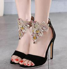 Brands Design Ladies Sexy Stilettos High Heels Women Shoes Pumps Rhinestone Wedding Party Shoes Black Ladies High Heel