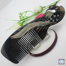 Natural horn comb Phoenix upscale boutique, hand-carved art, head blood circulation beauty special items M43