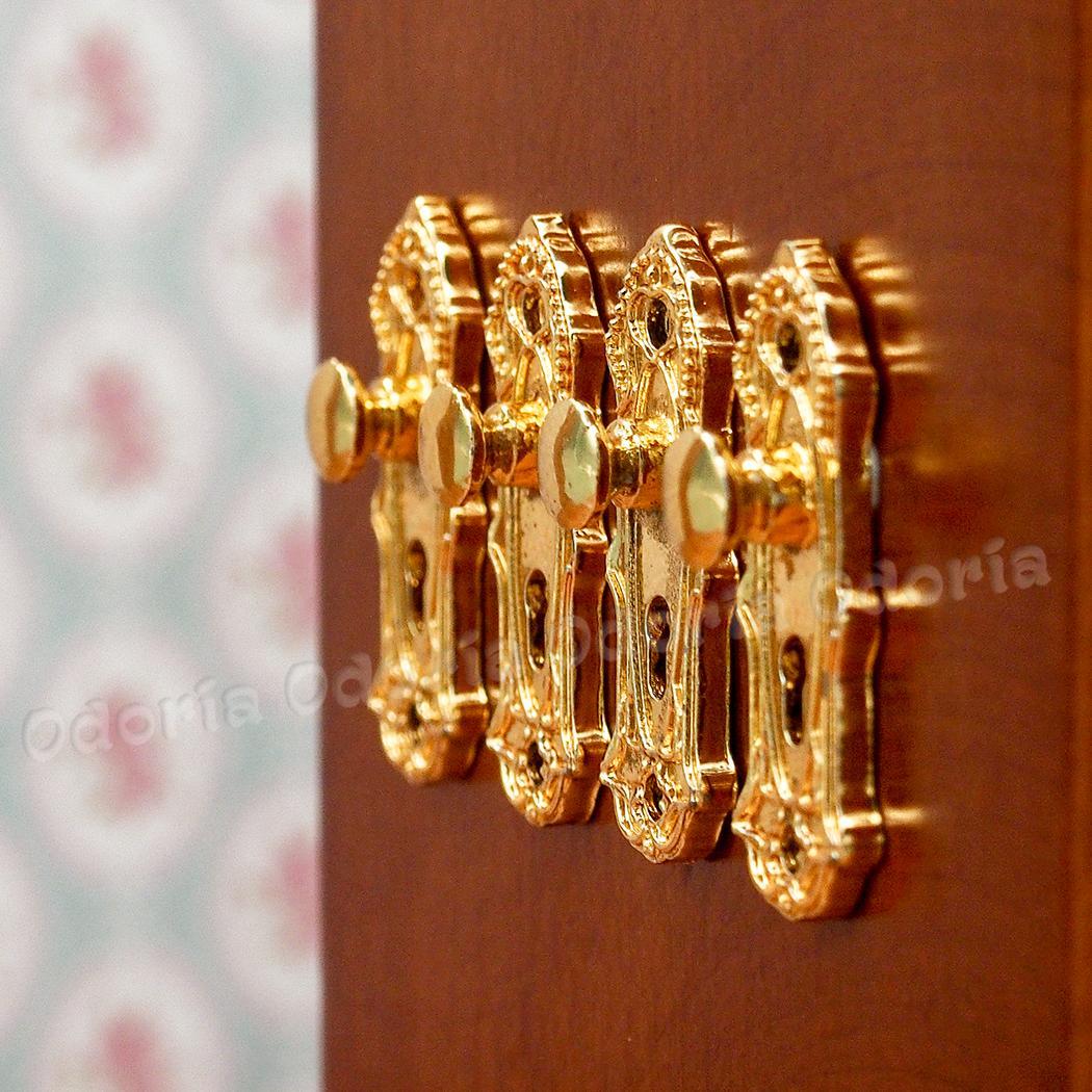 Chivao 1:12 Miniature Golden Door Lock and Key 4 Sets in 1 Pack Door Knocker Lock Doorplate Set Dollhouse Decoration Accessories
