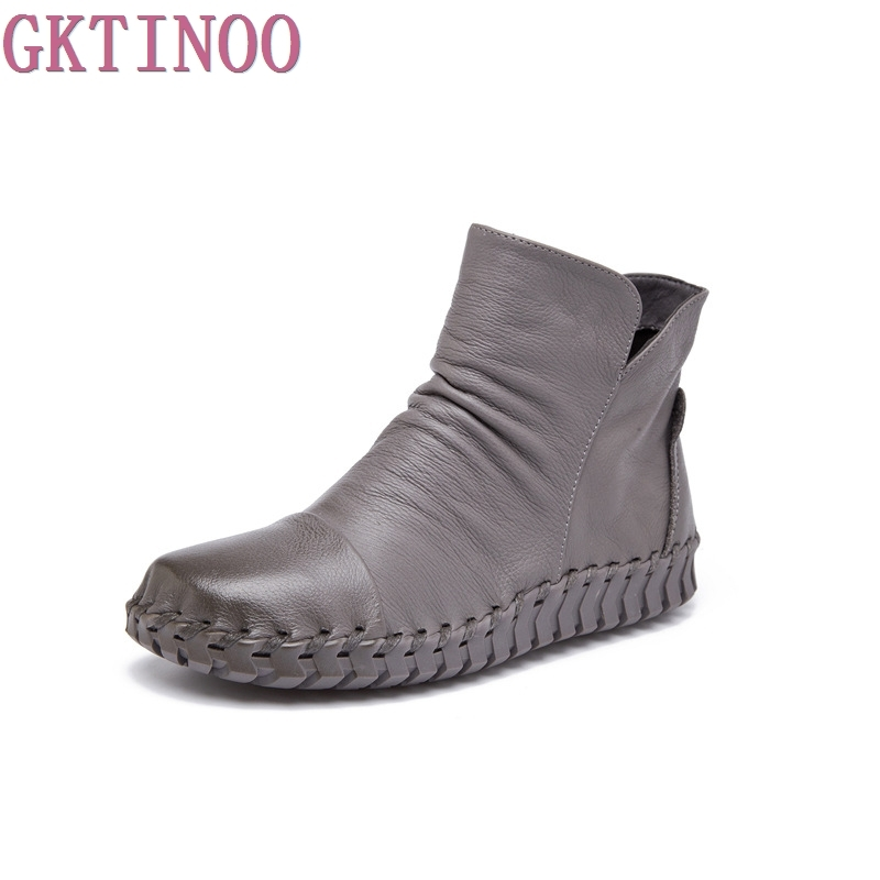 Genuine Leather Ankle Boots Plus Velet Winter Womens Shoes Handmade Sewing Soft Outsole Autumn Shoes Maternity Shoes Flat Boots<br>
