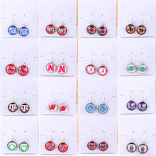 6Pairs/lot 18mm Glass Cabochon Dangle Charms Earrings Mix NCAA College Football Teams Alabama Texas Round Pendant Drop Earrings