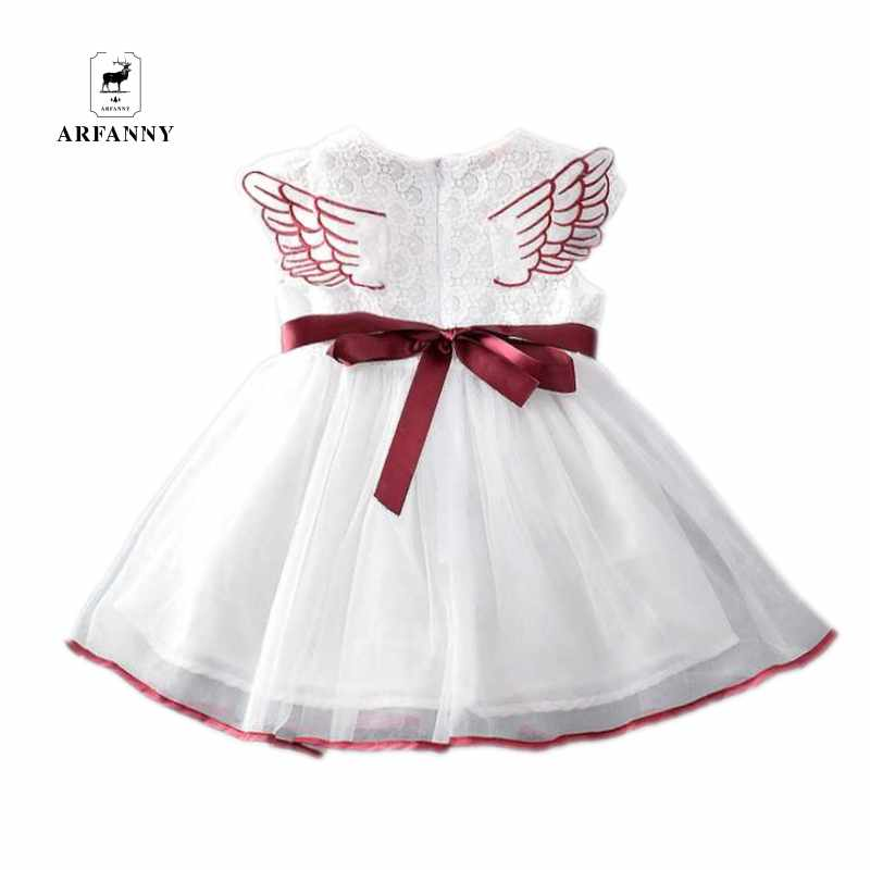 AR FANNY Children's 2017 girls lace small wings, Princess s dresses children's silk new summer dress(China)