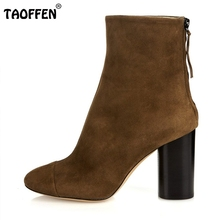 Women Fashion High Heel Suede Leather Ankle Boots Zip Platforms Shoes Ladies Square Heels Vintage Botas Footwear Size 35-46 B211