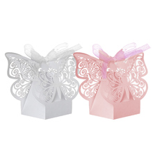 For Wedding Party Decor  50Pcs Gift Box Paper Butterfly Laser Cut Candy Boxes Chocolate    LS