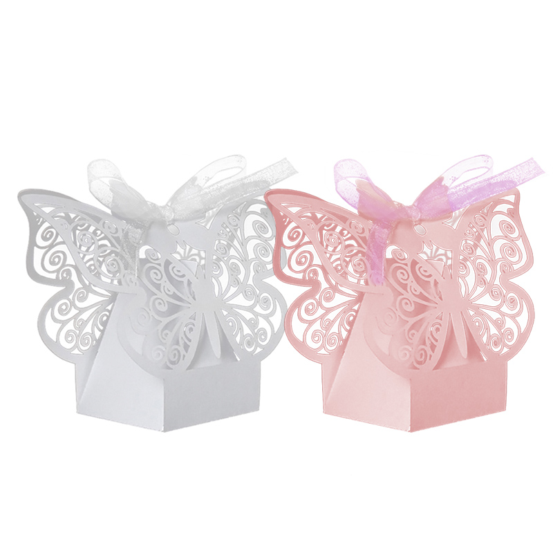 For Wedding Party Decor 50Pcs Gift Box Paper Butterfly Laser Cut Candy Boxes Chocolate LS(China (Mainland))