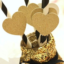DIY new 25pcs gold glitter heart paper straws Party Supplies wedding Decorations bridal shower birthday decor black Eco straws(China)