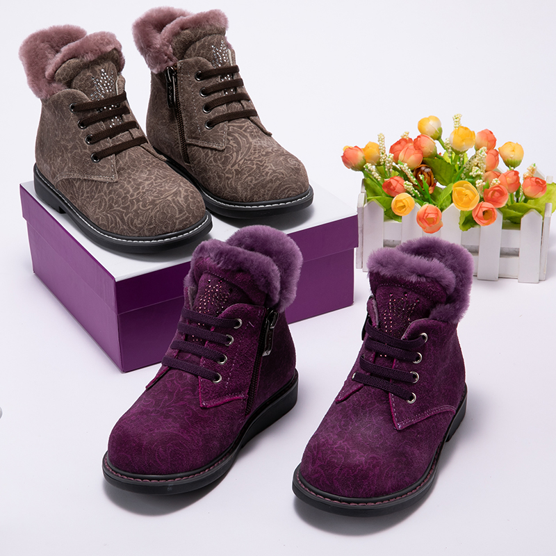 Princepard 2018 winter baby orthopedic boots for girls purple brown genuine leather children 100% natural fur orthopedic shoes
