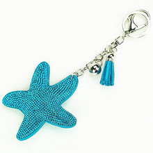Cute Leather Key Chain for Car Key Ring Star Pendant Rhinestone Key Cover Women Four Colors(China)
