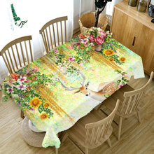 Customizable 3D Tablecloth Sika Deer Flowers Pattern Comfortable Cloth Thicken Rectangular and Round Table Cloth for Wedding(China)