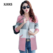 XJXKS 2017 Spring and Autumn new long coat sweater coat Korean fashion was thin loose knit cardigan women women cardigan sweater