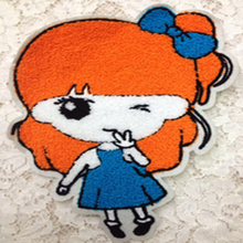 Newest  22x18cm Long-haired Wearing Bowknot Cute girl patch Towel Embroidered DIY Clothing Fall and Winter Clothes Accessories