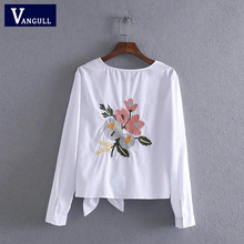 Women cotton tops fashion white blouse O- neck bow back flowers embroidered shirt 2017 Spring Summer Casual Shirts female(China)