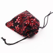 "10pcs 9x12cm (3.54""x4.72"") Black with Red Flower Jewelry Bag Velvet Pouch Gift Bags With Drawstring Jewellery Packaging Pouches(China)"