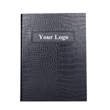 PU Leather Restaurant Menu Holders Upscale Hotel Cafe Menu Covers Customized Order Menu Folder Classic Black Alligator Grain