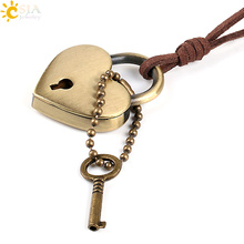 CSJA Leather Rope Chain Love Heart Lock Key Necklaces Pendant for Lover Girlfriend Boyfriend Gift Valentine Charm Jewellery P094(China)