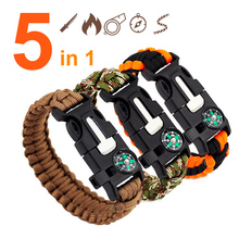 LASPERAL 5 in 1 Emergency Survival Bracelet Compass Paracord Bracelet For Men Outdoor Rescue Parachute Cord Wristband Flint Fire