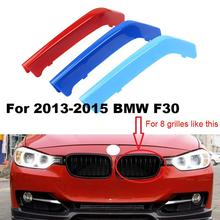 3D  M Styling Car Front Grille Trim Sport Strips Cover Motorsport Power Performance Stickers for BMW 3 Series F30 F35\E90