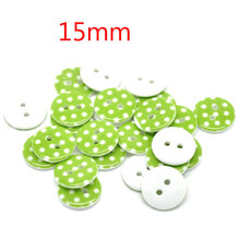 100Pcs 15mm 2 Holes Green Dot Resin Round Buttons Decor Sewing Clothing Buttons Sewing Scrapbooking Crafts DIY Accessories