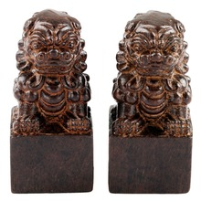 SUNYIK 1Lot (2Pc) Chinese Guardian Lion Statue Wood Carved Figurine Feng Shui Oriental Sculpture Wealth Good Luck(China)