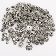 Mix Size Metal Flower Spacer Beads Cup For Needlework Antique Silver Zinc Alloy Charm For Jewelry Bracelet Making 150PCS/lots