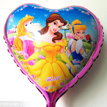 festa princesa sofia kids party supplies aluminum foil balloon, hearts shaped three princesses pattern , automatic sealing(China)